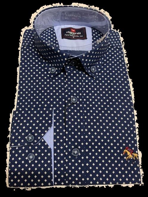Men's Rigardi navy & white fine pattern long sleeve super  slim fit shirt