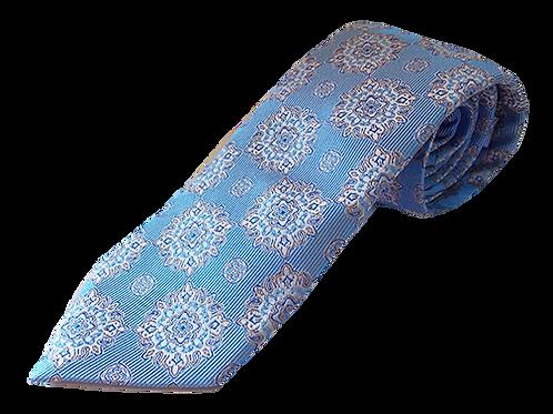 Sky Blue Crystal Design Silk Italian Necktie