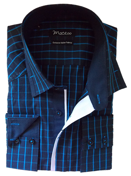 Men's Navy & Blue Check Long Sleeves Maceoo Trendy Shirt