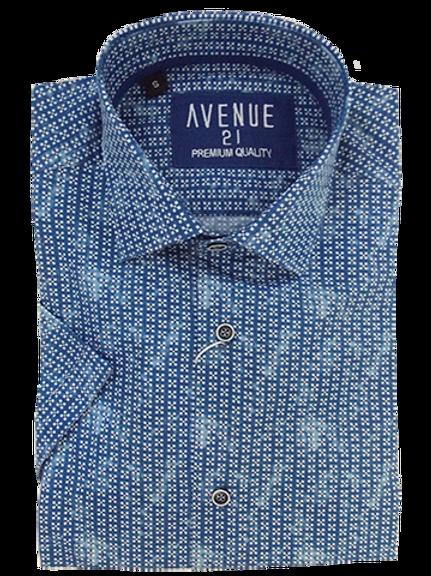 Men's fun navy with fine pattern silk feel short sleeve shirt