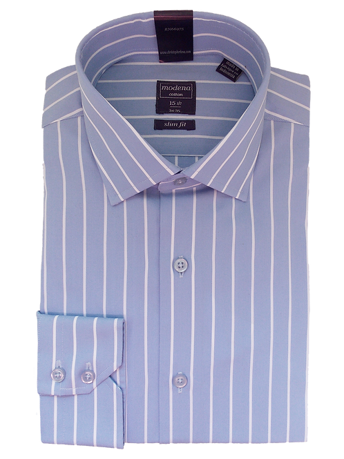 Men's Blue and White striped Casual Slim Fit Shirt