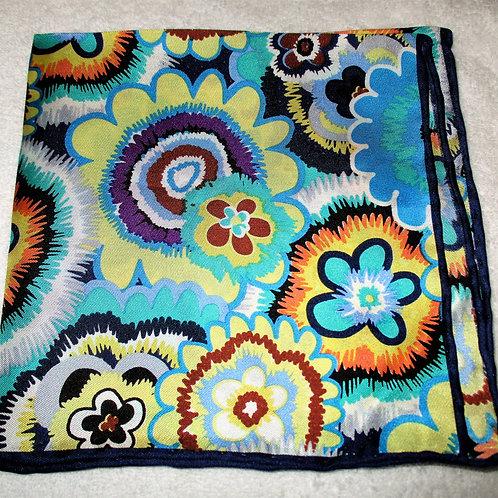 Blue floral Silk Pocket Square