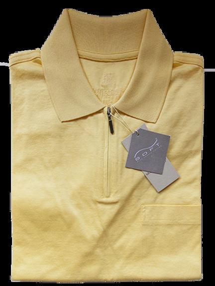 Men's Lemon Yellow Italian Montechiaro Luxurious Cotton Zip-up Polo Shirt
