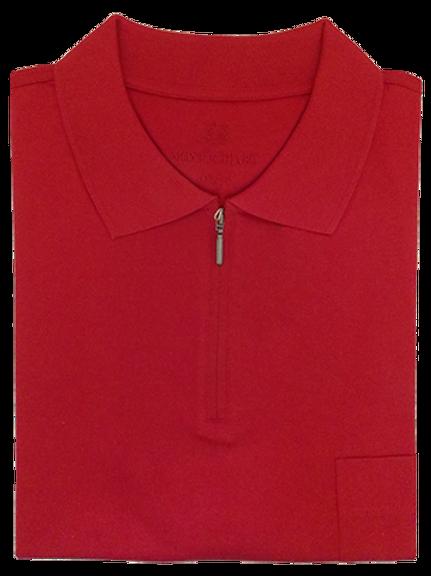 Red Montechiaro Italian Luxury Zip-up Polo Shirt