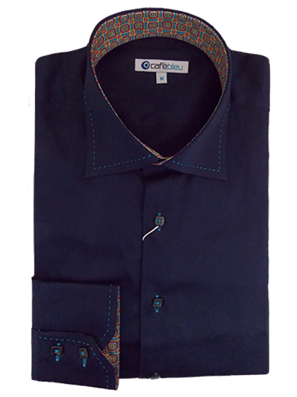 Men's Navy & Contrast Stitching Long Sleeves Cafe Bleu Sport Shirt