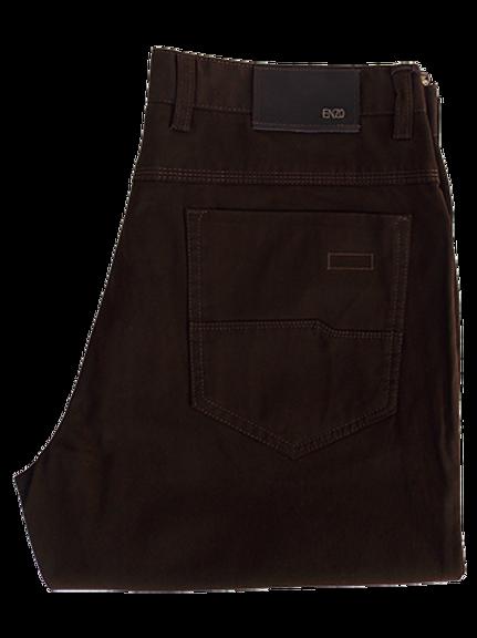 Men's Enzo Walnut Brown Moleskin Cotton Pants