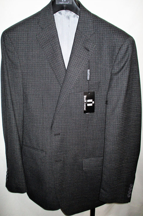 Men's Charcoal Small Check Wool Sport Jacket