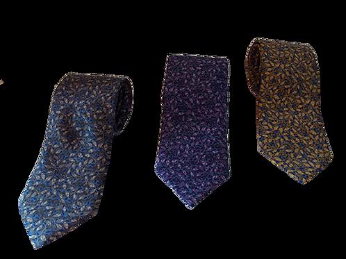 Nature inspired Leaf Print Italian Neckties in Blue, Purple & Lavender