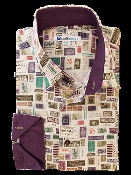 Men's Stamp Prints & Purple Long Sleeves Cafe Bleu Fun Shirt