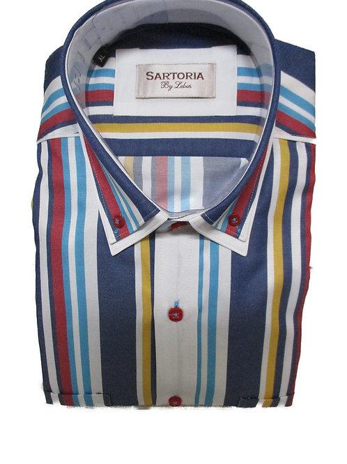 Men's Sartoria De Lebos white & multicolor stripes long sleeve shirt