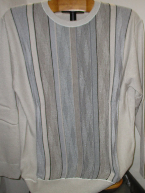Men's Ivory & Gray Italian Montechiaro Sweater