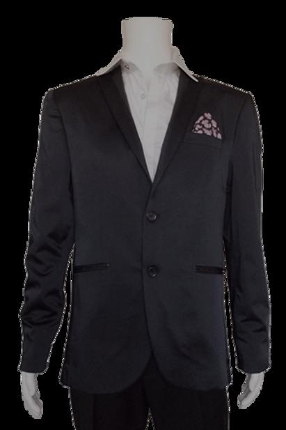 Men's Navy Satin RNT Trendy Slim Fit Dressy Jacket