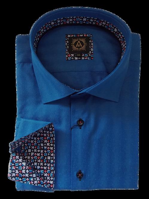 Men's Pattern Cobalt Blue Cotton  Ave21 Slim Fit Fun Shirt