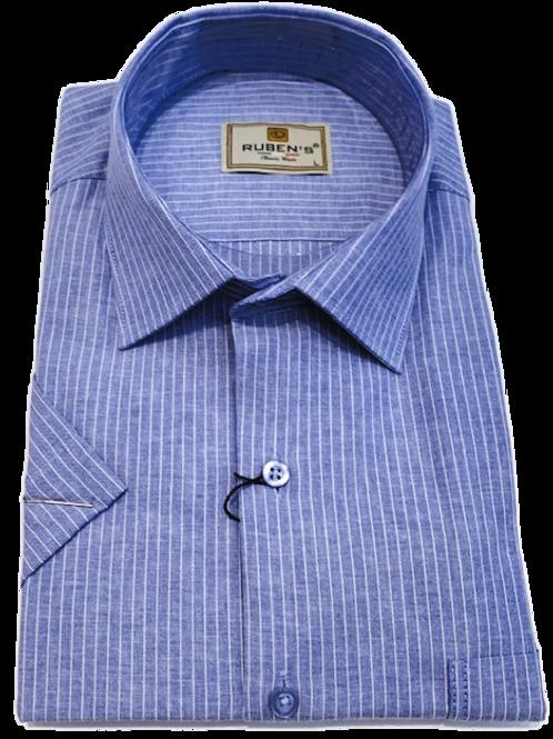 Men's Ruben's blue & white stripes chest pocket short sleeve classic fit shirt