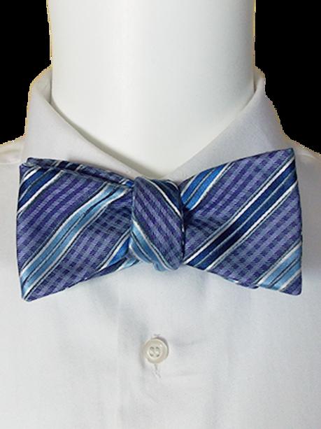 Purple Blue Black and White  Geometric Self-tie Silk Bowtie