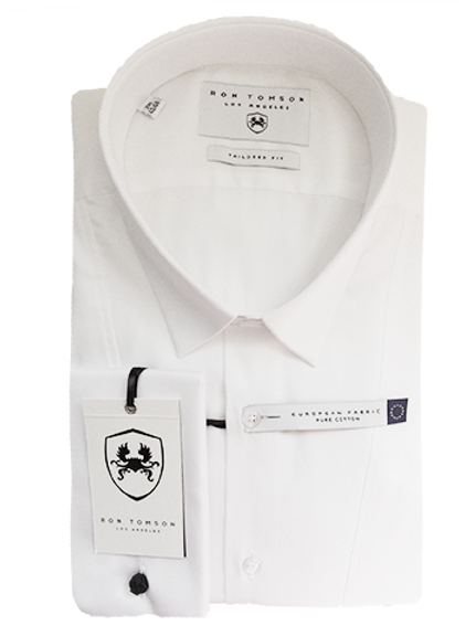 Men's White Tailored Fit Ron Tomson Tuxedo Shirt