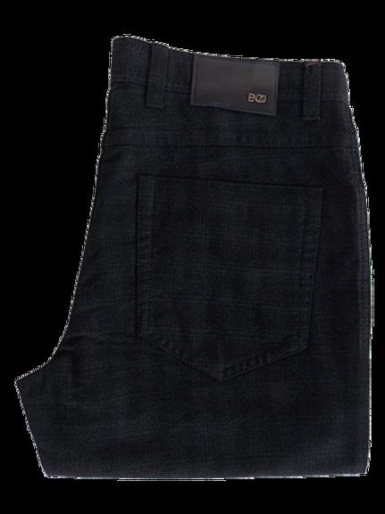 Men's Enzo Graphite Tonal Plaid Cotton Moleskin Pants