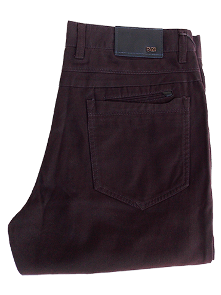 Men's Enzo Dark Burgundy Denim Pants Modern Fit 100% Cotton