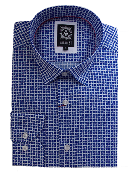 Men's Electric blue Check Ave21 Superior Cotton Trendy Shirt