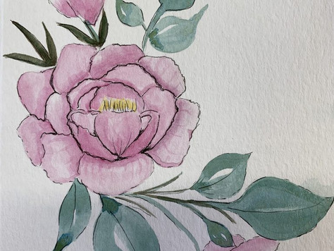 Watercolor Peony Card with Daniel Smith Paints/ Jean Haines Master Set