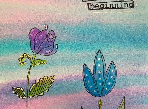 Fun Backgrounds and Stamping with Crayola Watercolors and Any Stamps You Want!