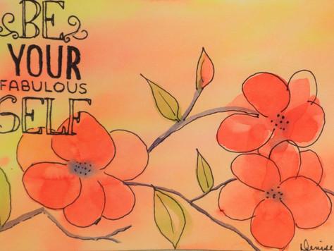 Loose Watercolor Intuitive Red Flowering Tree