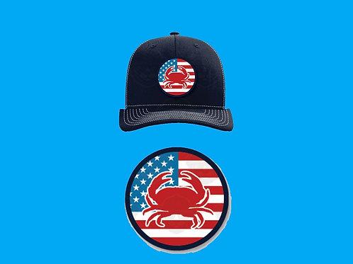 Baseball Cap – American Flag & Crab Design