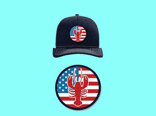 Baseball Cap – American Flag & Lobster Design