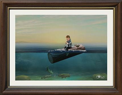 Digital Art Photography Boy On Log