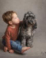 Boy and dog photo