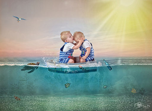 composite art of twins in a boat on the sea