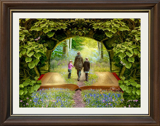 photo of family walking in bluebells