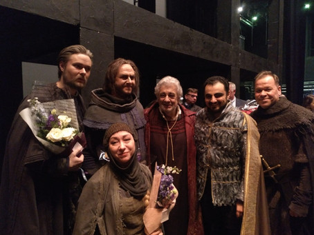 Migran Agadzhanyan, Roman Burdenko and Maestro Plácido Domingo in Simon Boccanegra at the Mariinsky