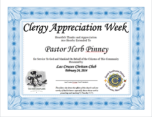 Sample certificate of appreciation for priest choice image las cruces civitan club club meetings yadclub Images