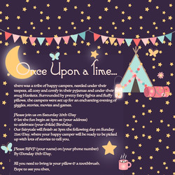 once upon a time sleep over partiesinvite