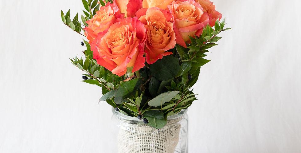 Bouquet 9 rose arancio