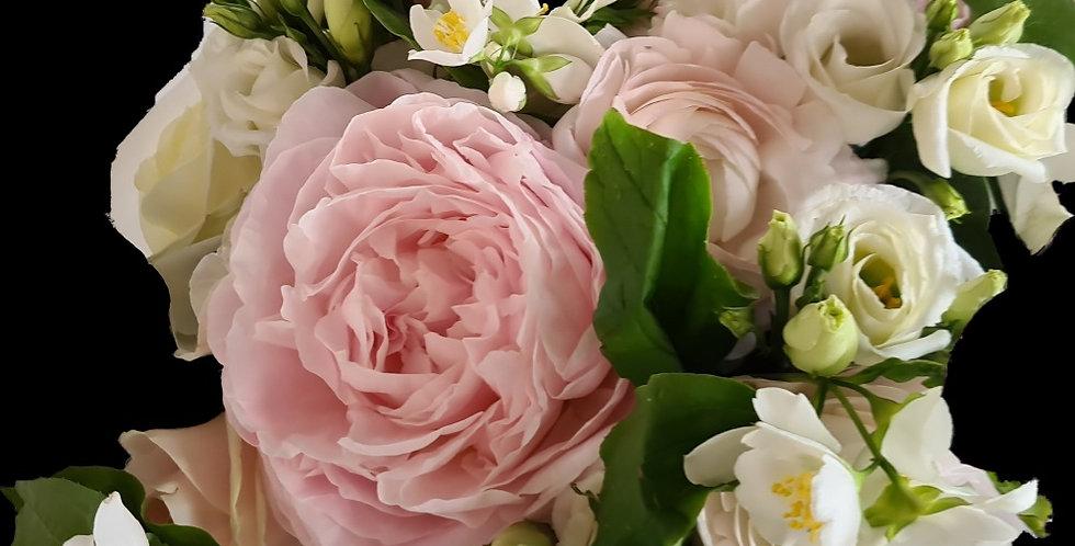 Bouquet Barbara, bianco e rosa