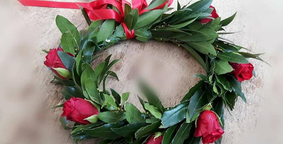 Coroncina laurea rose rosse