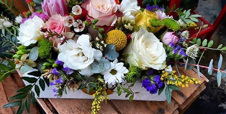 fiori in casseta di legno