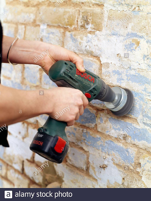Scraping By Wire Grinder and washing of wall up to painting