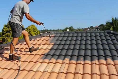 Applying of 2 coat of paint on roof tiles (up to 25 ft building height)