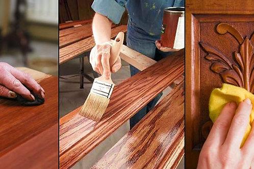 Polishing of Furniture or applying of clear coat