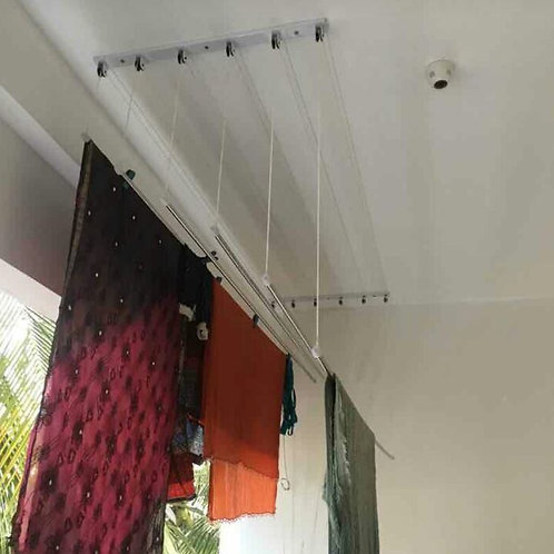 Clothes ceiling hanger installation includes roof drilling
