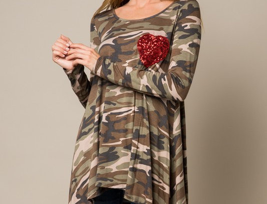 LOVE RHIANNON CAMOUFLAGE SEQUIN DETAIL TUNIC TOP