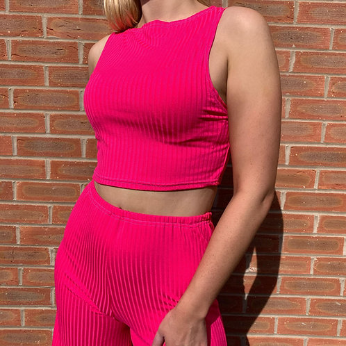 THATS SO.. NEON PINK RIBBED CROPPED TOP