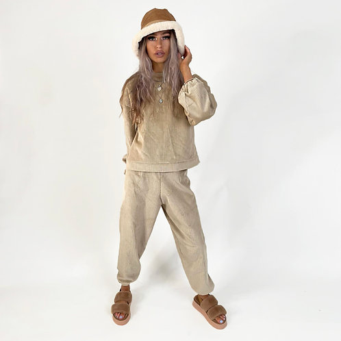 THATS SO.. THE BEIGE  COMFY CORDUROY SET