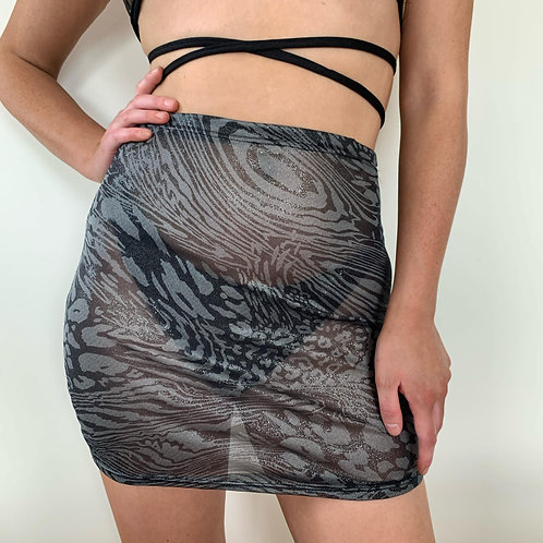 THATS SO.. GREY LEOPARD MESH SKIRT
