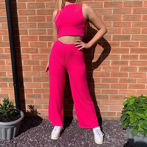 THATS SO.. NEON PINK  RIBBED TROUSERS