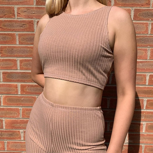 THATS SO.. CAMEL RIBBED CROPPED TOP