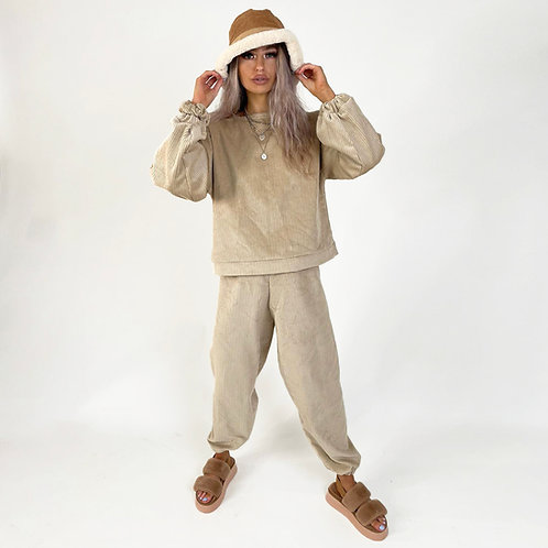 THATS SO.. THE BEIGE COMFY CORDUROY JOGGERS
